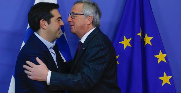 2015年2月,希臘總理齊普拉斯與歐盟委員會主席容克會面。