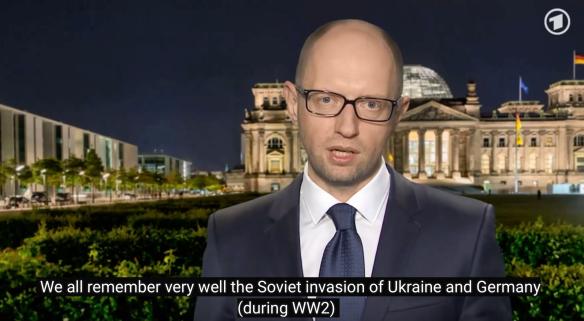 2015年1月,烏克蘭總理亞采尼克在訪問德國期間在時事節目上表示:「我們都十分清楚的記得二次大戰期間蘇聯對烏克蘭和德國的侵略,沒有人能夠改寫二戰歷史。」烏克蘭顏色革命之後,國會通過反共法案,大規模拆除蘇聯紀念物,重新修訂烏克蘭現代史,奉二戰期間為希特勒效勞的本土納粹分子為「民族英雄」。波蘭近年也出現大量「修正主義」歷史著作,宣稱蘇聯比納粹德國更殘暴。