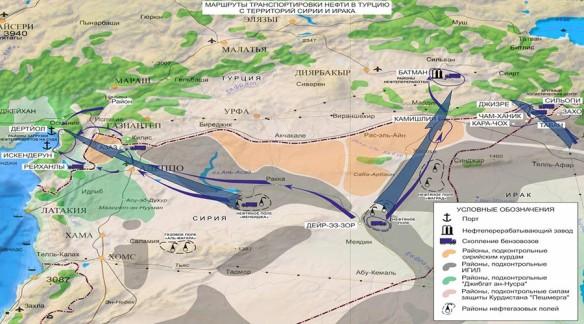 2015年12月2日,俄國軍方發表伊斯蘭國向土耳其走私原油路線示意圖。(圖片來源:RT/syria.mil.ru)