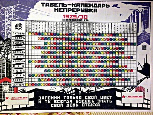 前蘇聯在1929年至1940年期間,曾經採用5天週和6天週的「革命曆法」。